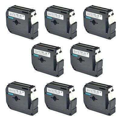 8PK 12mm For Brother P-touch PT-100/110 Label M-K231 M-231 Black on White Tape