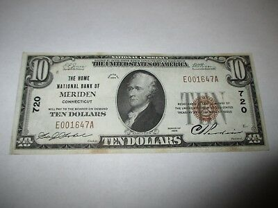$10 1929 Meriden Connecticut CT National Currency Bank Note Bill! Ch. #720 VF++