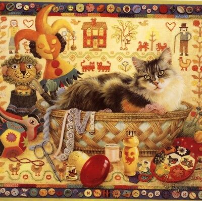 """Lesley Anne Ivory...""""agneatha (Cat) In Sewing Basket"""",blank Note,greeting Card"""
