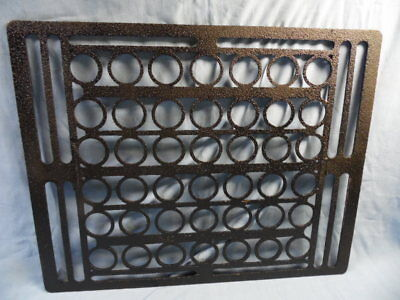 "Vintage Ornate Design Black Cast Iron Register Heat Grate ~ 19 3/4"" X 15 1/2"""