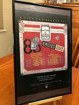 "BIG 11X17 FRAMED ORIGINAL THE EAGLES ""EAGLES LIVE"" LP ALBUM CD PROMO AD + bonus!"