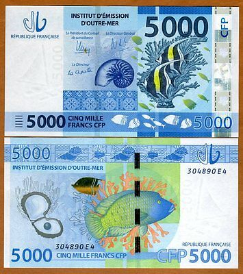 French Pacific Territories, 5000 (5,000) Francs ND (2014) P-7, UNC