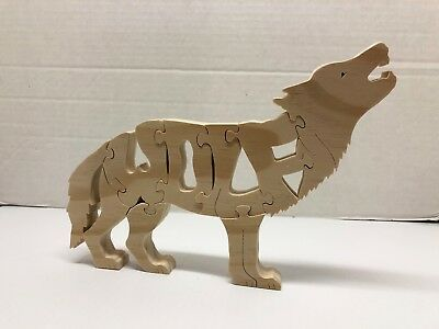 Howling Wolf Puzzle Letters 9 Piece Free Stand Art Wildlife Woodimals Wooden