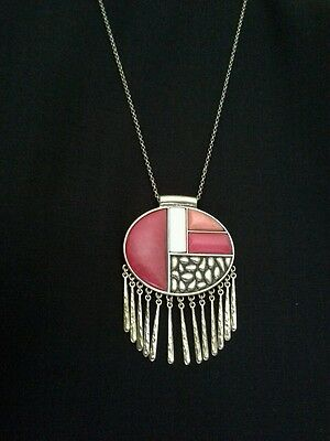 Lucky Brand Coral Geometric Pendant Fringe Necklace MSRP: $55