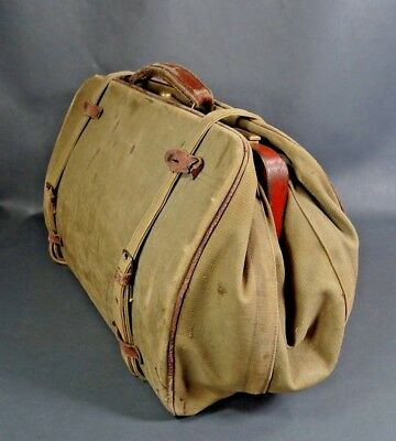 Antique WWII German Military Canvas Leather Medical Field Doctor's Bag Satchel