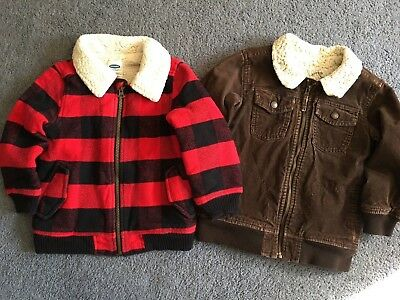 2 OLD NAVY BOYS wool buffalo & corduroy bomber Jackets size 4T 5T Excellent