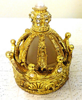 Vintage & Unique Gold Crown Perfume Bottle & Jewelry Box Rhinestones and Pearls