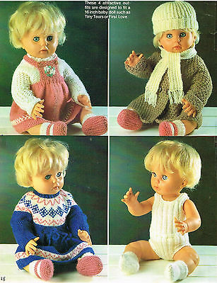 Vintage Dolls Clothes Crochet Knitting Pattern Booklet Dolly