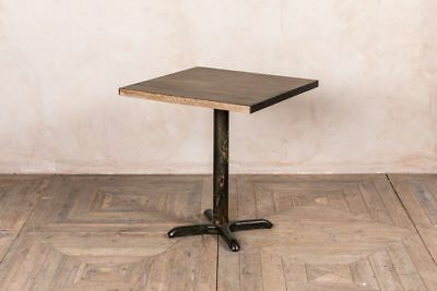 Cafe Table Oak Top Pedestal Base Metal Edging Distressed Finish Industrial Style