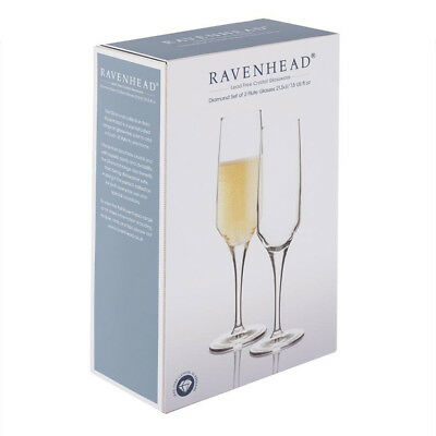 Set of 2 Ravenhead Lead Free Crystal Flute Champagne Cocktail Glasses 215ml NEW