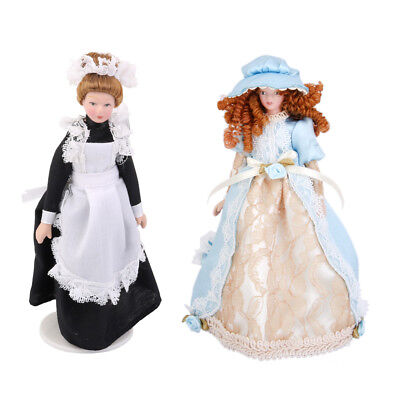 2PCS 1/12 Doll House Porcelain Doll Victorian Lady Servant In Apron W. Stand