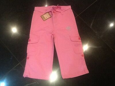 NWT Juicy Couture New Girls Age 8 Pink Cotton Cropped Trousers With Juicy Logo