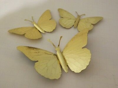 LOT OF 4 Vintage Mid Century Brass Butterflies Home Interiors Wall ...