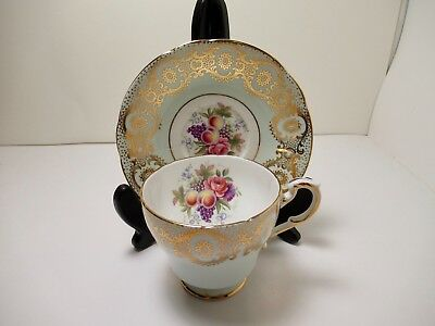Paragon Eng China Cup&saucer  Light Green With Fruit Pattern & Large Gold Design