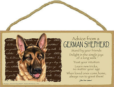 ADVICE FROM A GERMAN SHEPHERD wood SIGN wall hanging PLAQUE puppy dog USA MADE