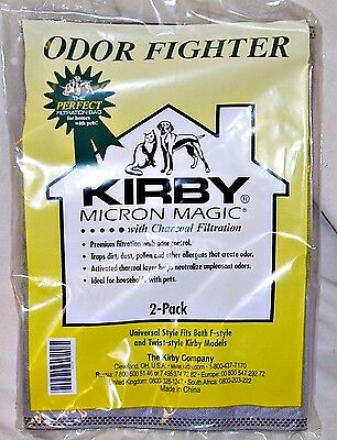 KIRBY CHARCOAL FIGHTER Pet ODOR CONTROL 2 Bags Universal F style & Twist on HEPA