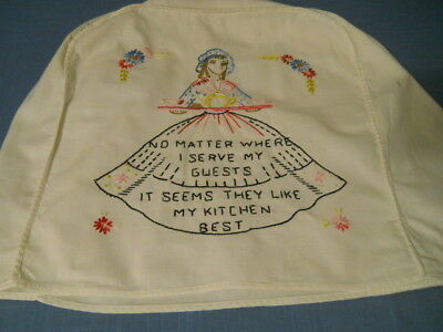 Vintage Embroidered Kitchen Appliance Cover So.Belle Cotton Muslin