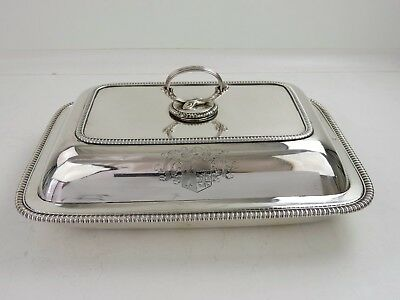 GEORGIAN armorial SILVER ENTREE DISH & COVER, London 1805 John Emes Coat-of-Arms