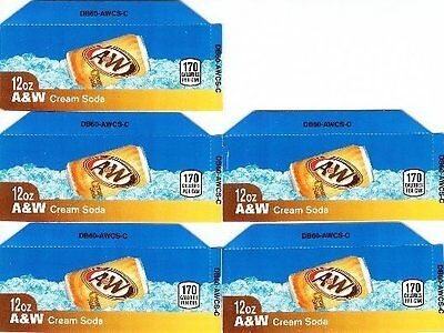 A&W Cream Soda Labels 5 Small 12oz Can Vending Machine Calories Flavor Labels