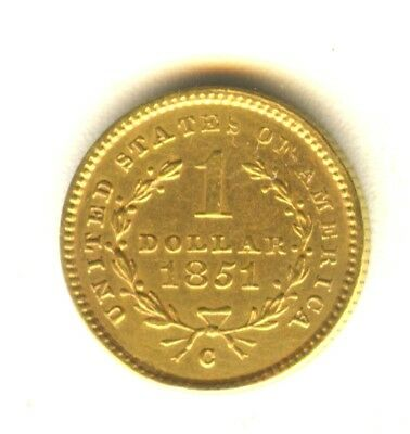 1851 C $1 Gold Type 1 MS Details In Grade Early Gold Type Coin Charlotte NC Mint