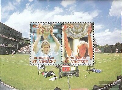 St. Vincent-grenadines Block37 mint never hinged mnh 1988 Tennis Players