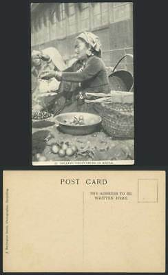 TIBET China India Old Postcard Tibetan Lepcha Woman Selling Vegetables in Bazar