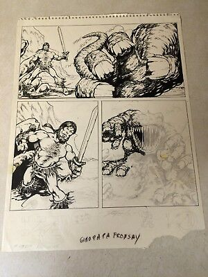 DALE KEOWN (of hulk) original RARE EARLY ART BARBARIAN BATTLES BEAST SIGNED 1985