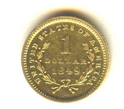 1849 $1 Gold Type 1 AU In Grade Scarce Open Wreath Gold Type Coin