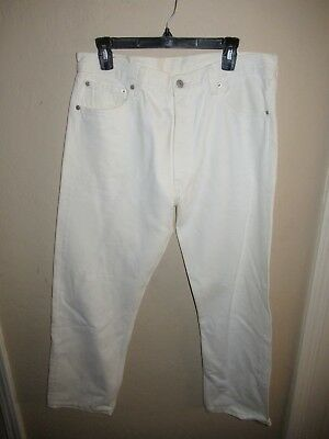 91956e78f46 Vintage 80s Levis 501 USA Made Button Fly White Denim Jeans Button 533 36 x  32