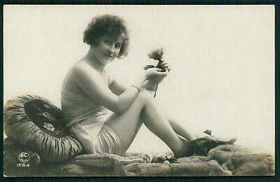 risque woman and Rose Flower photo french sexy original old 1920s postcard