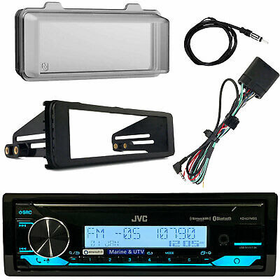 Kenwood KMMBT322U Bluetooth Radio, Weathershield, Harley Dash Kit, Antenna