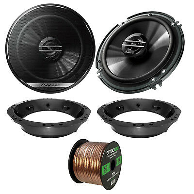 "2x Pioneer TS-G1620F 6.5"" 2-Way Speakers, Adapter, 50 Ft Wire ('98-2013 Harley)"
