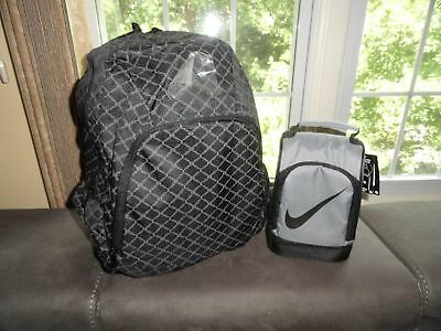 Air Jordan Backpack & Nike Lunch Box Black Gray Bag School Gym Laptop Holder New