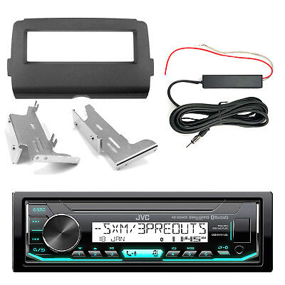 JVC KDX35MBS Bluetooth Radio, Dash Kit, Hide Away Antenna (2014-Up Harley)