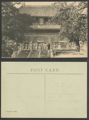 China c.1910 Old Postcard Confucius Temple Dacheng Hall PEKING Chinese Men Group