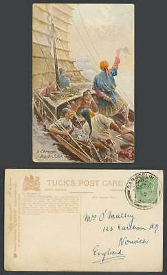 China India KE7 1/2a Darjeel 1910 Old Tuck's Postcard A Chinese Pirate Junk Boat
