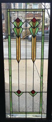 "Antique Art Deco Chicago Stained Leaded Glass Window / Cabinet Door 51"" by 23"""