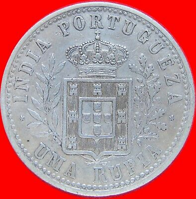 1903 India (Portugese) 1 Rupia Large Silver Coin Km 17 109