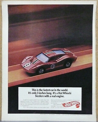 "Hot Wheels Ad ""Fastest Car in the World"" 1970 Print Ad"