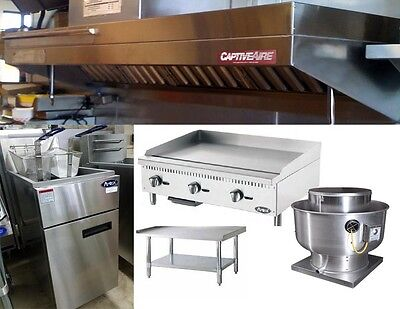 8FT Food Truck Package with Exhaust Hood, Griddle, Charbroiler, 2 Fryers w/stand