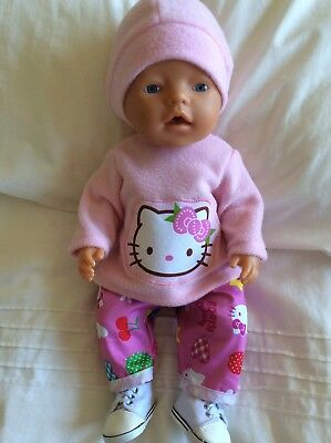 """Doll Clothes to fit 17"""" Baby Born doll ~ 3 Piece Set. Pink. Hello. KITTY"""