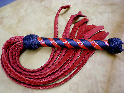 """USA Hand crafted Genuine Leather Cat of 9 Tail, Black & Red 31"""" Flat Braid Tail"""