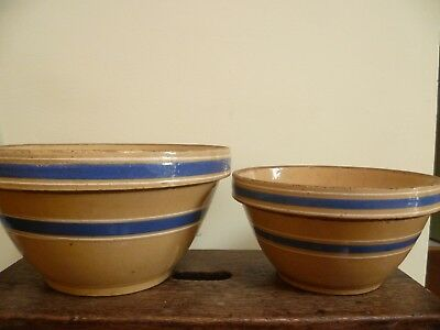 Vintage Set Of 2 Yellow Ware Blue Bands Pottery Mixing Bowls - Pickup Only