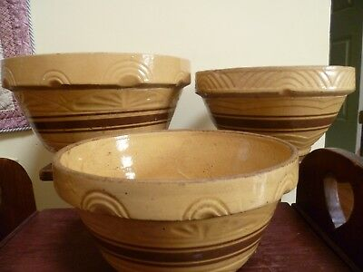 Vintage Set Of 3 RRPCO Roseville Yellow Ware Pottery Mixing Bowls - Pickup Only