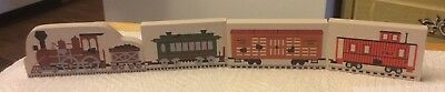 Cats Meow Lot of 4 Wood Trains Shelf Sitters - Engine, Caboose, Boxcars