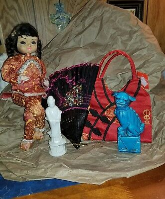 Asian Chinese Lot vintage poseable doll, foo dog, fan, figurine & purse