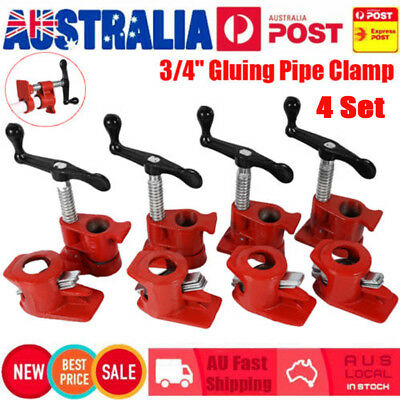 """3/4"""" GLUING PIPE CLAMP 4 SETS WOODWORKING VICE HAND TOOLS Tube Clamp Cast Set AU"""