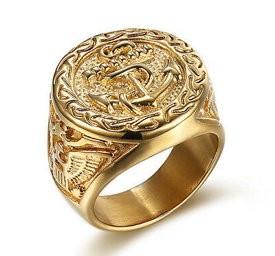 18k Gold Plated Titanium Steel Eagle Engraved Men's Cool Design Anchors Ring M62
