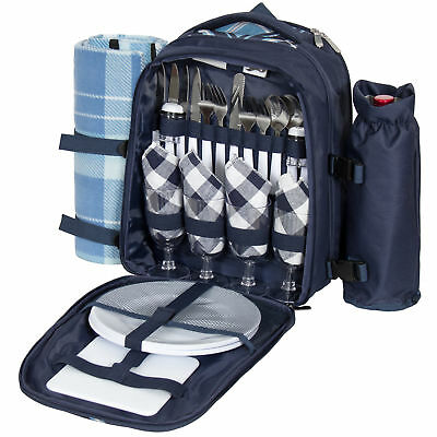 4 Person Insulated Picnic Bag Set W/ Blanket, Flatware, Plates, Glasses- Blue