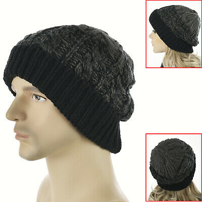 Girls Ladies Women Knit Knitted Winter Pony Tail Messy Bun Beanie Hat Ear Warmer